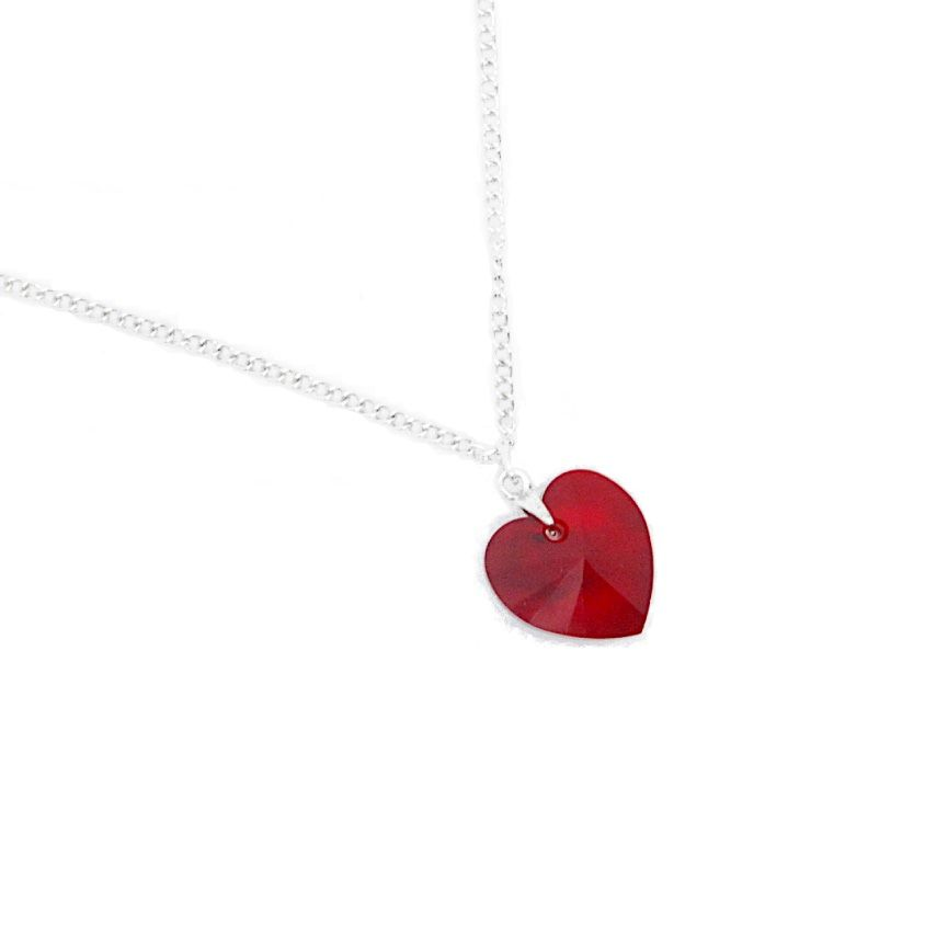 Crystal Heart Necklace Red romance valentine