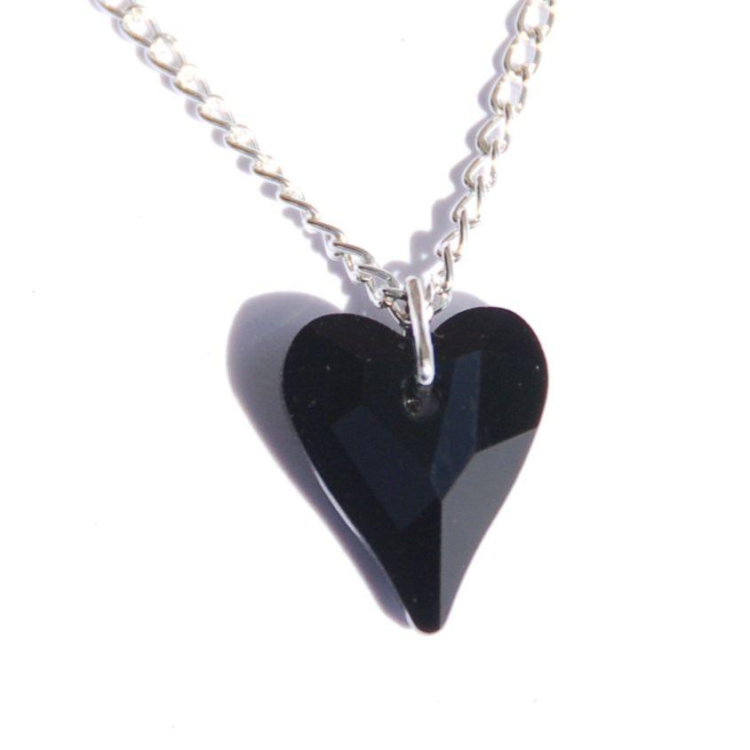 Black Heart Crystal Necklace Swarovski kink gift