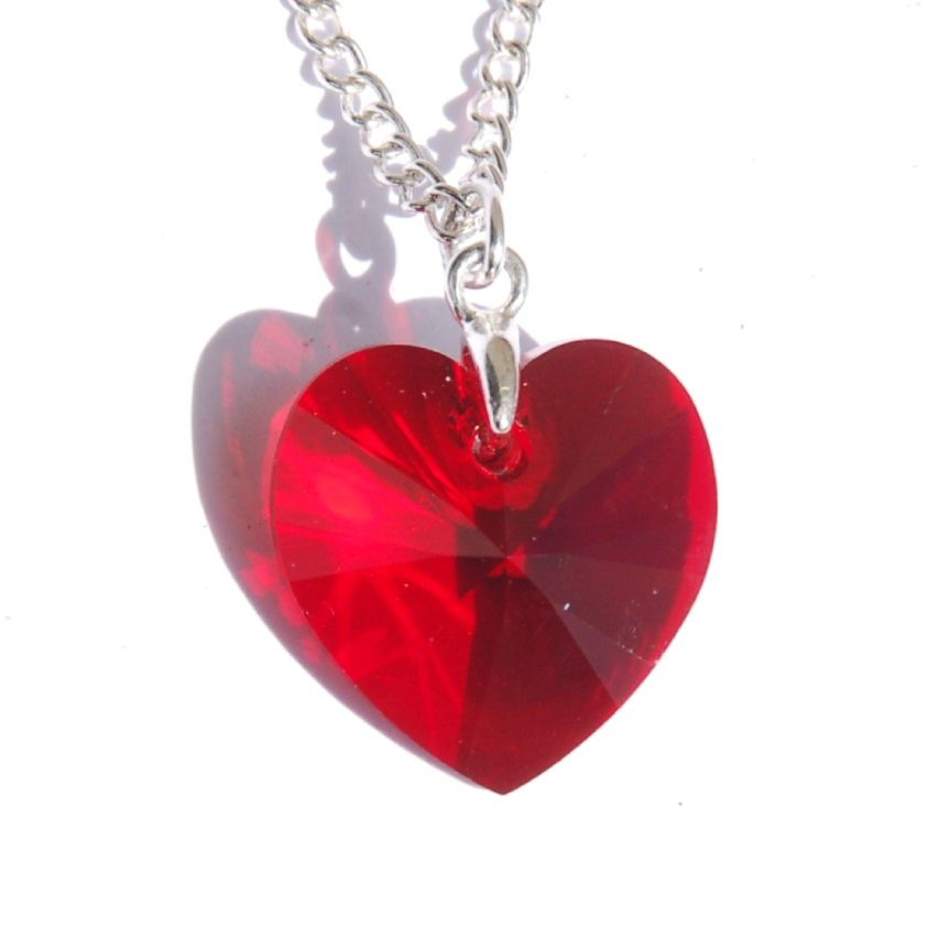Red Heart Crystal Necklace romantic gift