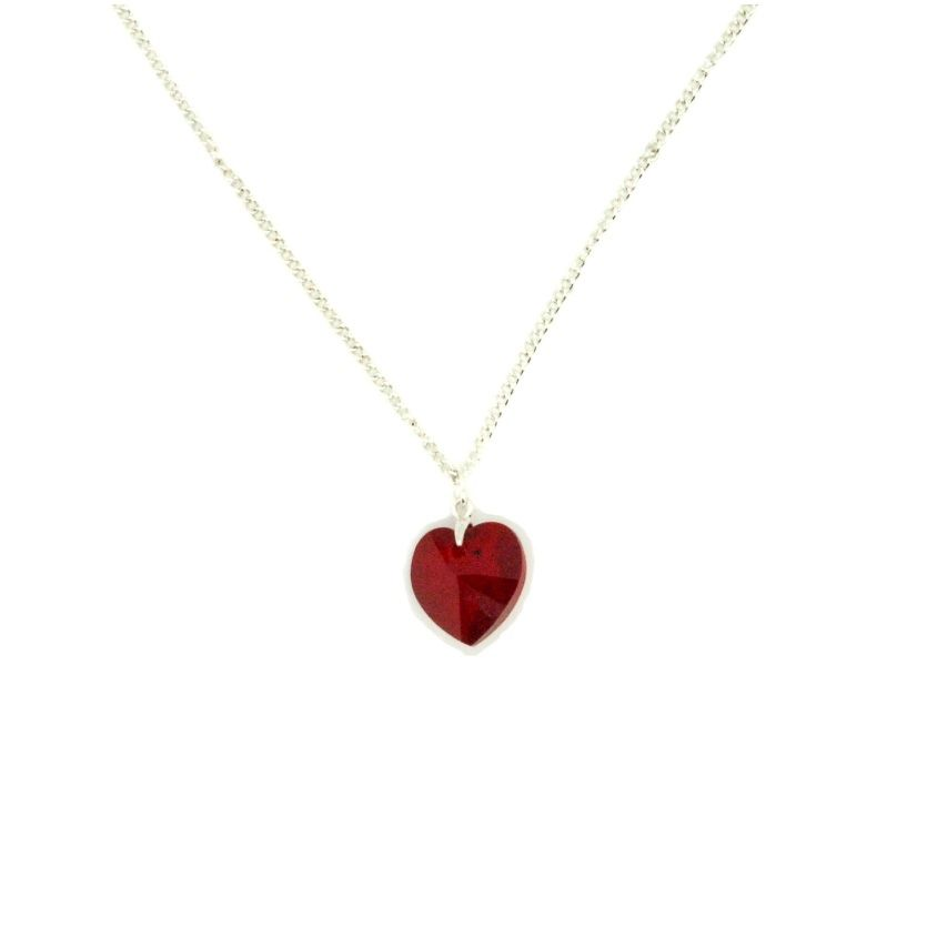 Swarovski red crystal heart necklace