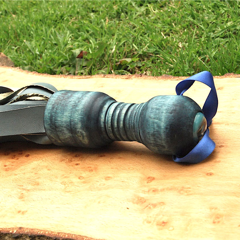 Teal Flogger handmade craft kink BDSM submission