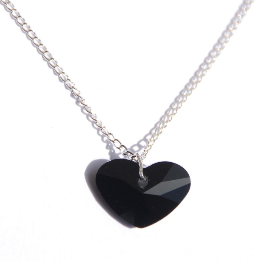 Black Fat Heart Crystal Necklace sexy romantic