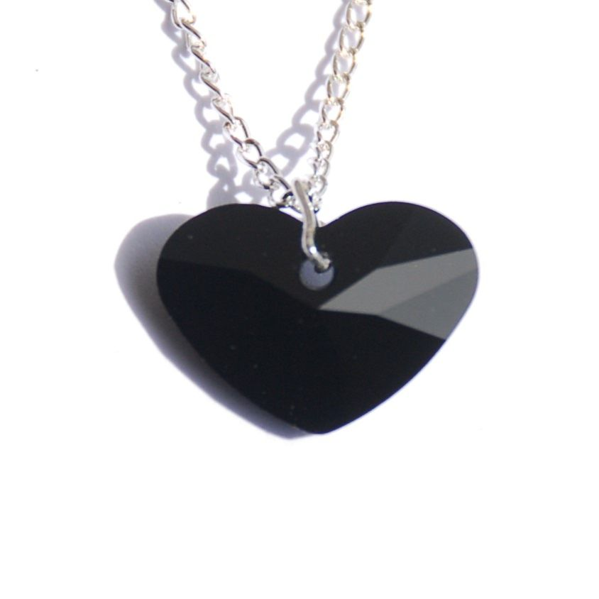 Black Fat Heart Crystal Necklace naughty kinky BDSM bondage