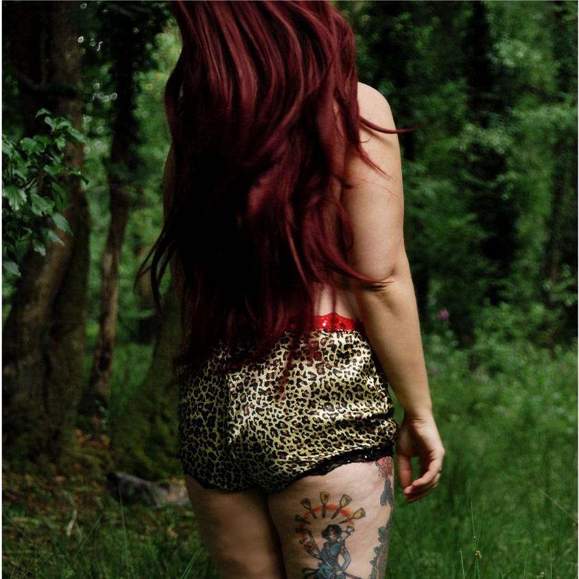 girl in leopard print knickers