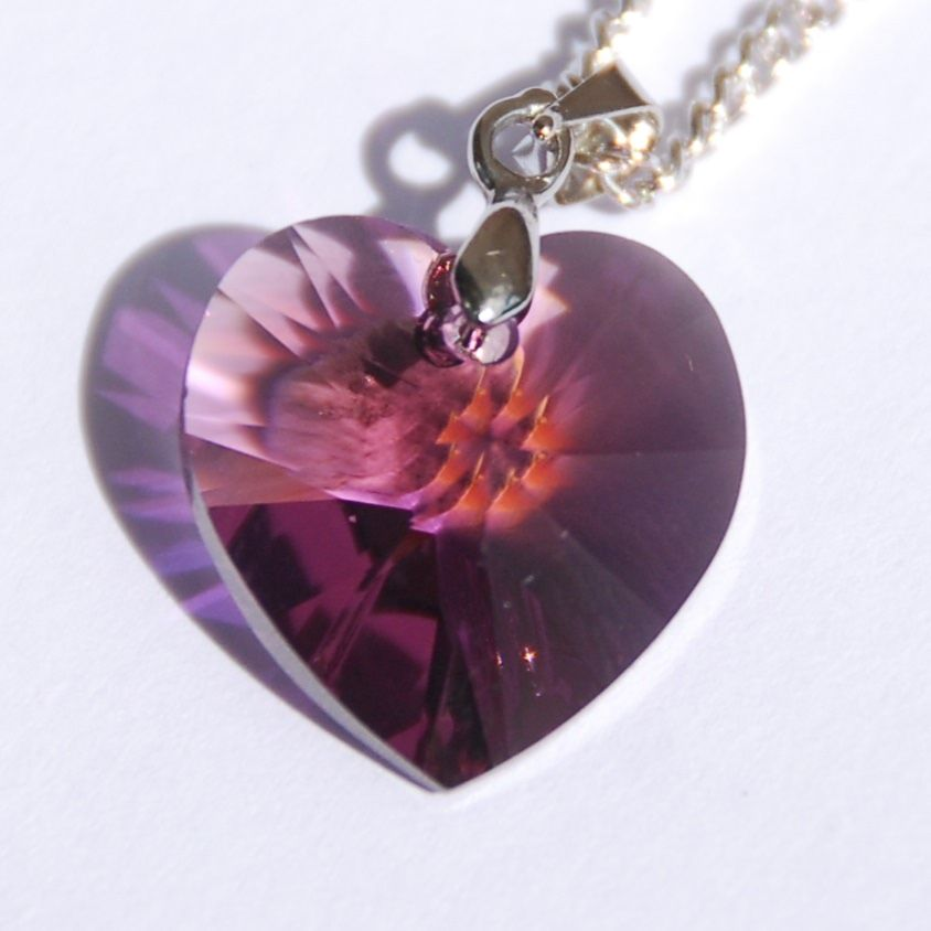 Purple Heart Crystal Necklace Swarovski