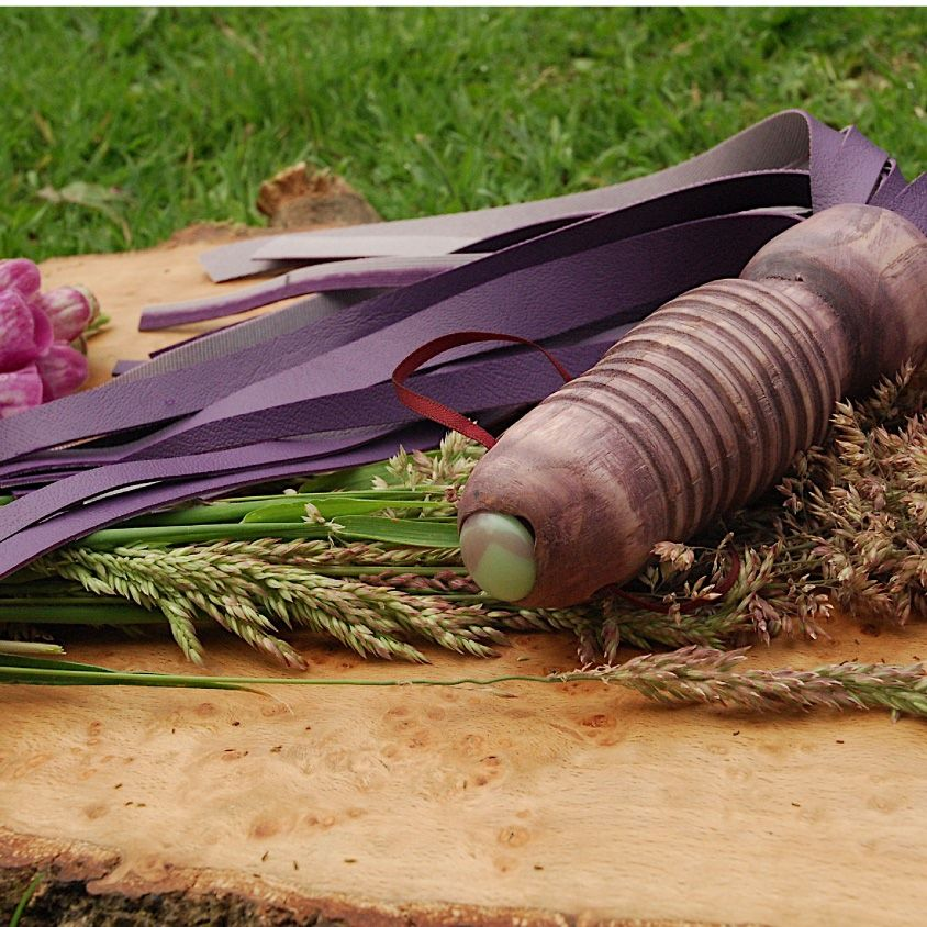 Purple Flogger with flowers vegan eco friendly natural