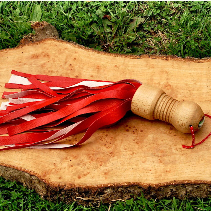 Red and Natural Beech Flogger vegan ethical kinkr