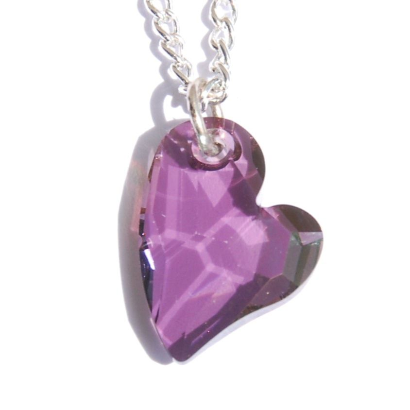 Twisted Purple Heart Crystal Necklace Swarovski