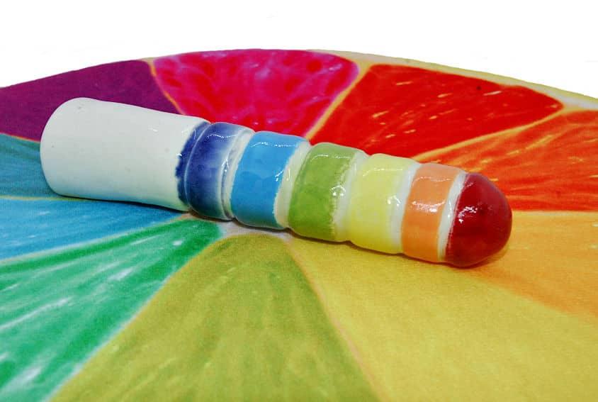 Ceramic rainbow dildo