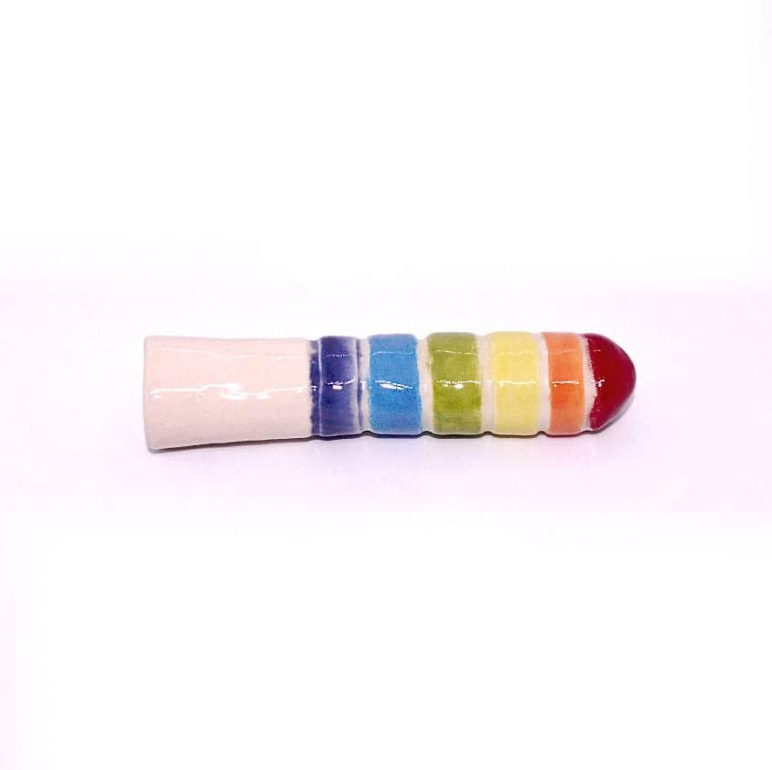 stoneware rainbow ridged dildo